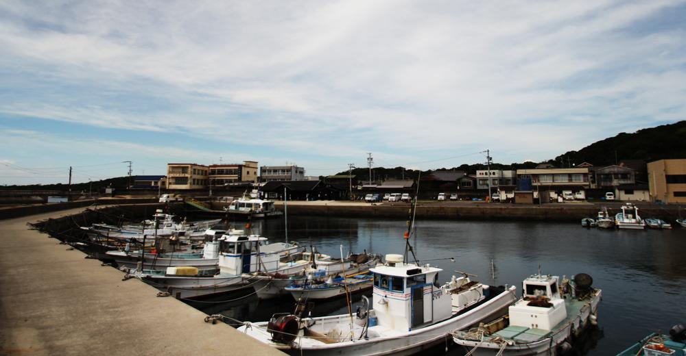 東港(高速船の発着場)。西と東に港があります。