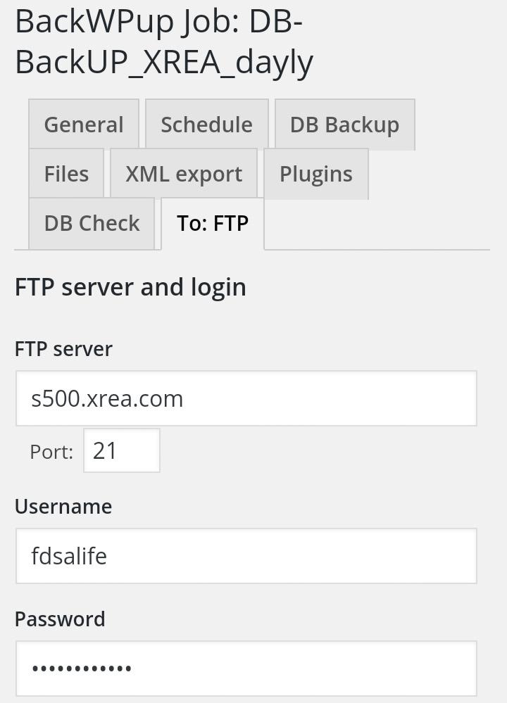 XREAにFTPする設定画面